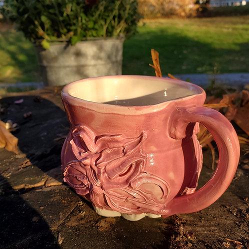 Textured Pink Floral Mug