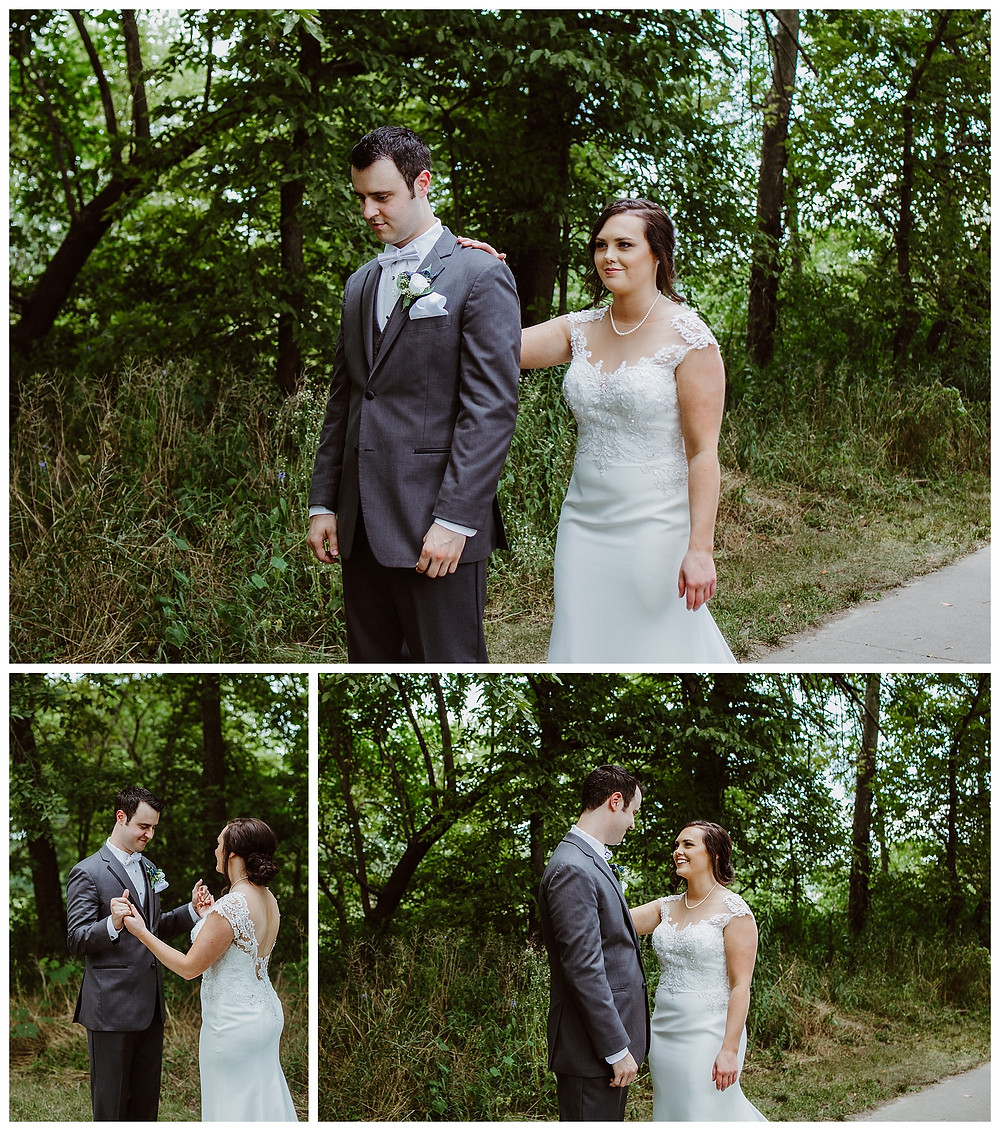 Intimate Iowa Wedding first look