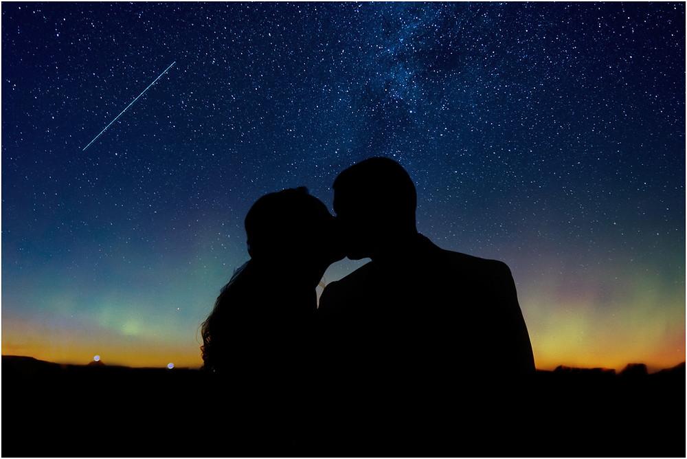 Iowa City Wedding Photographer Silhouette sunset stars