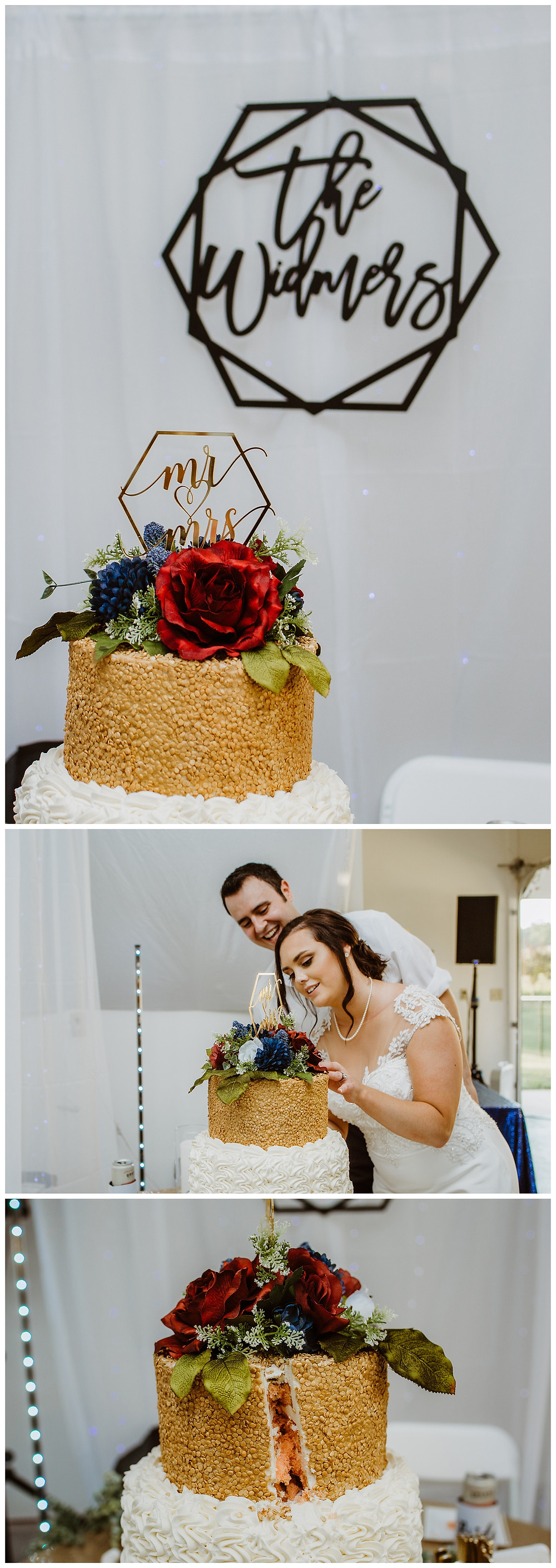 Intimate Iowa Wedding reception cake