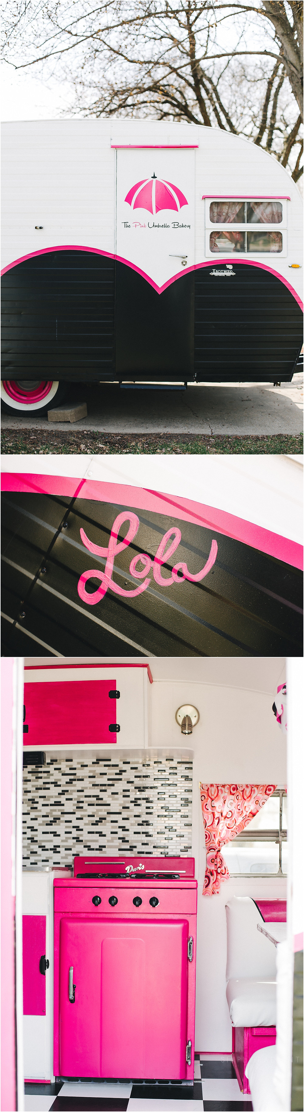 Pink Umbrella Bakery Iowa vintage camper