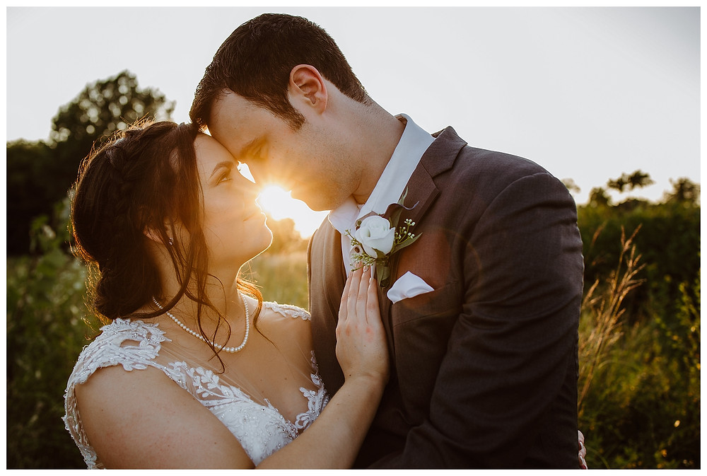 Intimate Iowa Wedding bride and groom golden hour