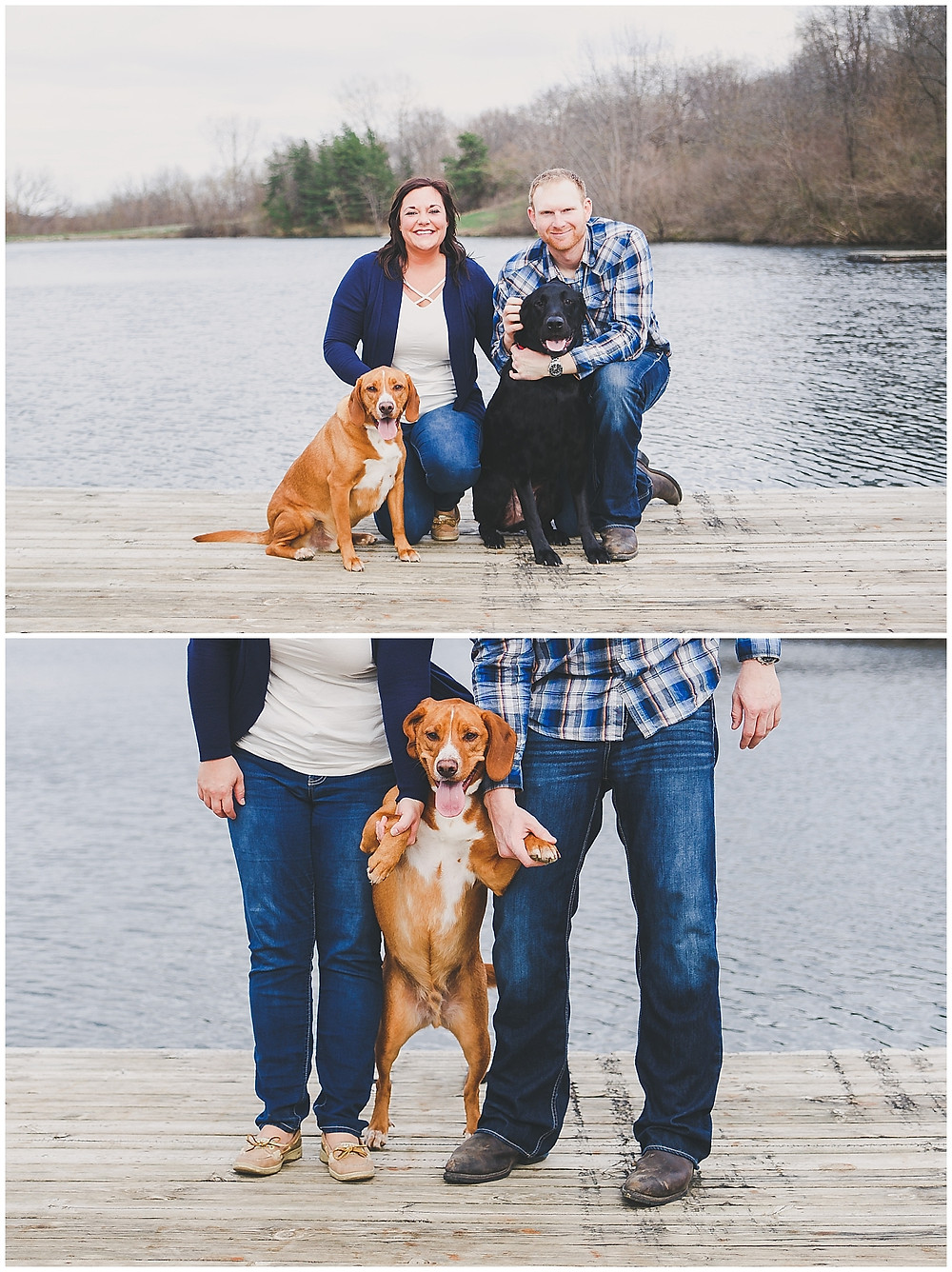 IOWA ENGAGEMENT WITH DOGS ON POND