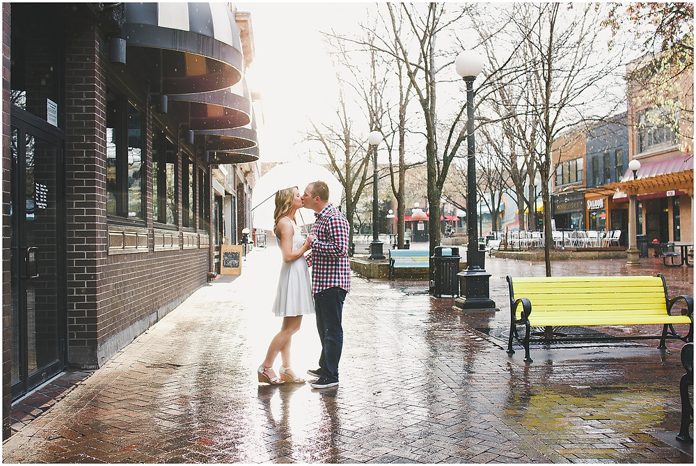 Rainy Day Engagement Downtown Iowa City