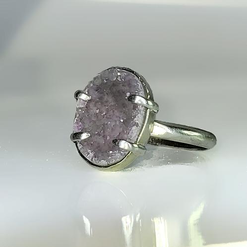 Light Amethyst Lavender Sugar Druzy Oval Stacking Ring