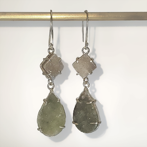 Dress-Up Two-Stone Amethyst Druzy Drop Earrings