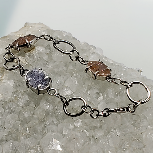 Three-Stone Druzy & Sterling Bracelet