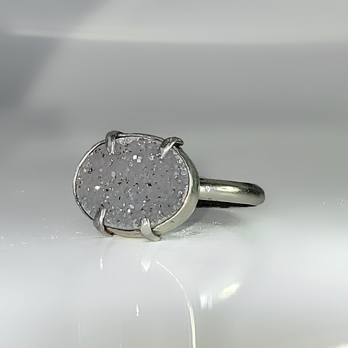 Storm Cloud Amethyst Grey Druzy Oval East-West Stacking Ring
