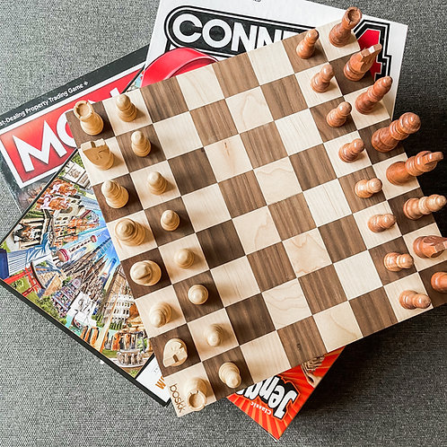 Chess + Checkers Board/Walnut and Maple