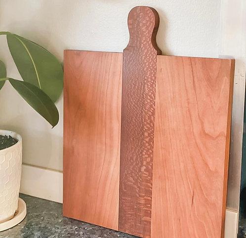 Charcuterie Board/Cherry and Leopardwood/Medium w/Handle