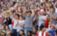 Fans cheering at the HSBC Singapore Rugb
