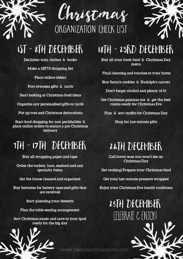 Christmas Organization Checklist