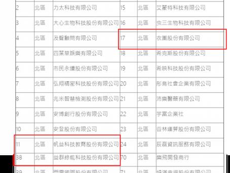 【賀!!】本中心輔導4家廠商通過經濟部中小企業處SBIR-Stage1 新秀組,獲研發獎助金!
