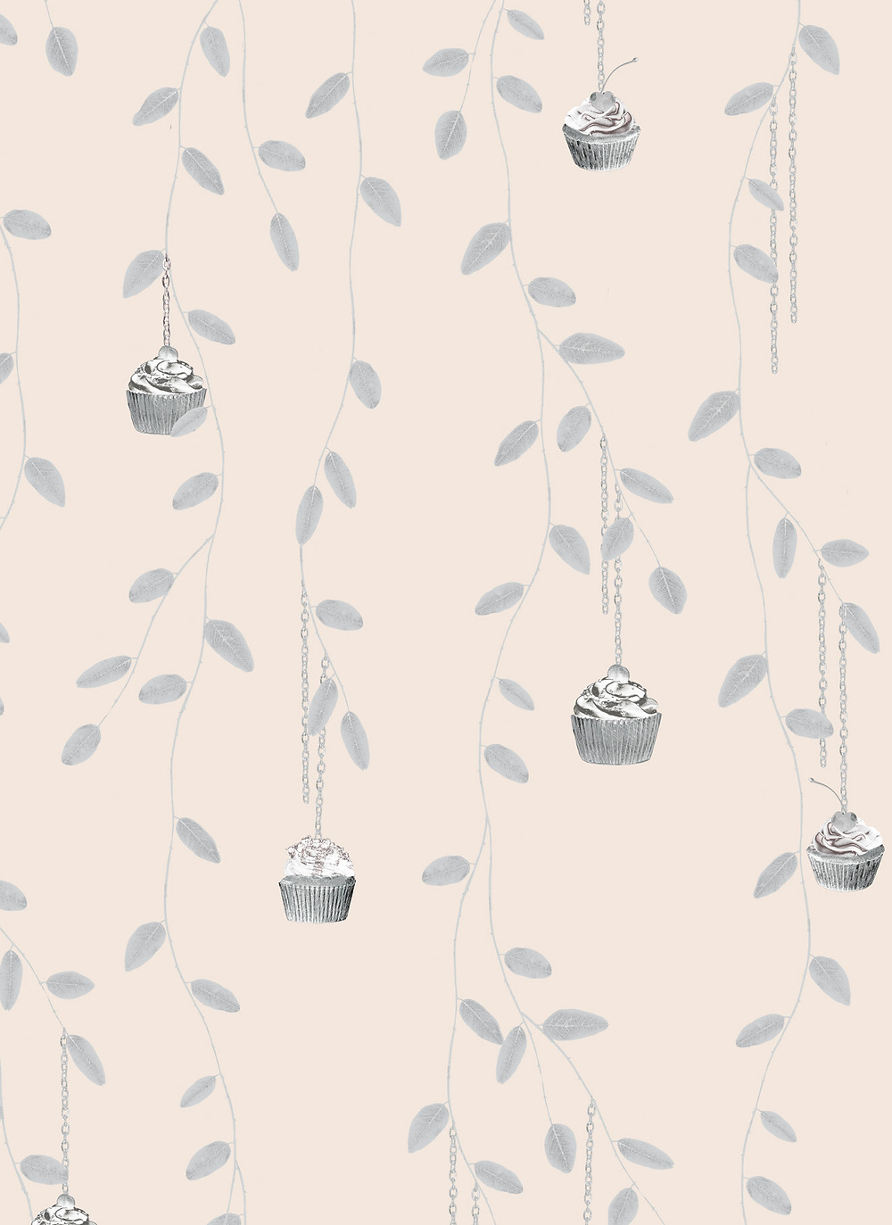 powder interior styling, wallpaper pattern with leaves and cupcakes