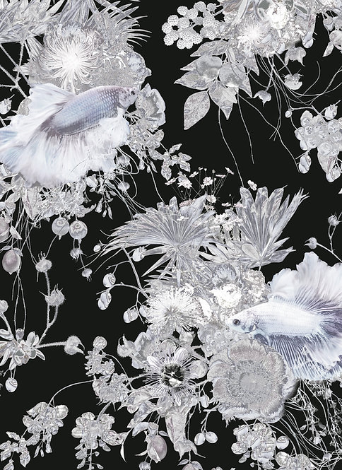 Wallpaper Sample - Forgotten Lagoon - Charcoal