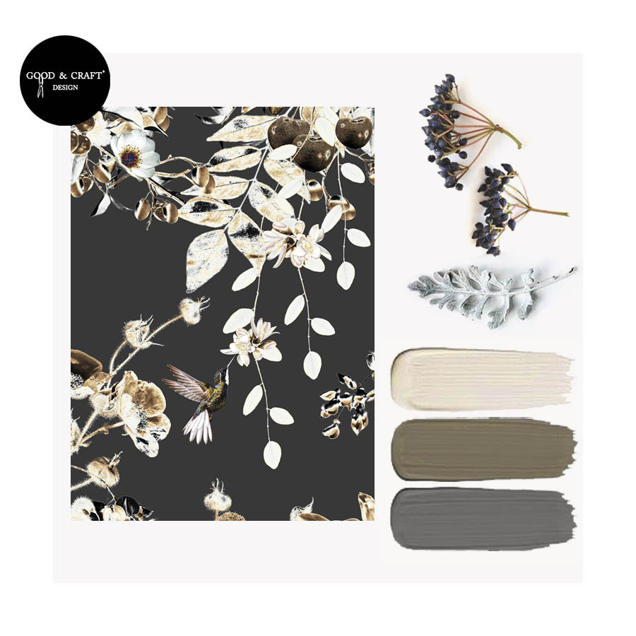 Dark Interior Trend, Interiors Inspiration Blog for wallpapers with bird print