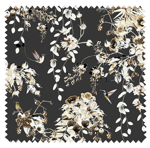 Dark floral velvet fabric with hummingbirds by Good and Craft, Good & Craft