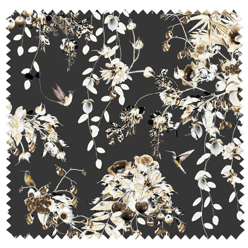 Dark Velvet Fabric with bird print and flowers by Good & Craft, Good and Craft