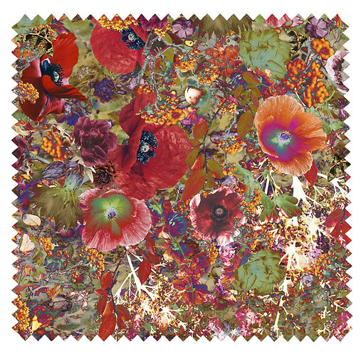Flower Garden - Velvet Fabric - Apple Green
