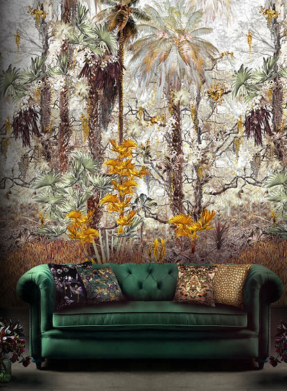Jungle Mural Wallpaper by Good and Craft in living room with rainforest print and green velvet sofa, Good & Craft