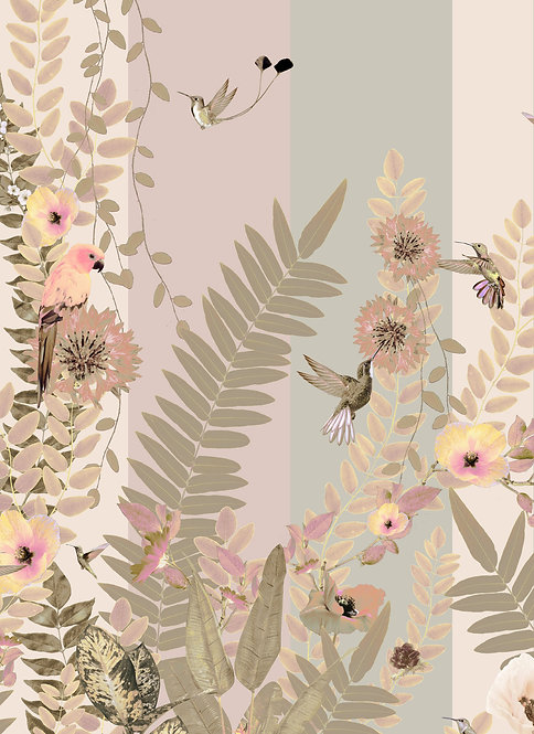 Rainforest wallpaper with parrots in pastel powder pink for Jungle Mural Wallpaper by Good and Craft, Good & Craft