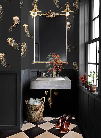 Dark bathroom with jellyfish wallpaper by Good & Craft
