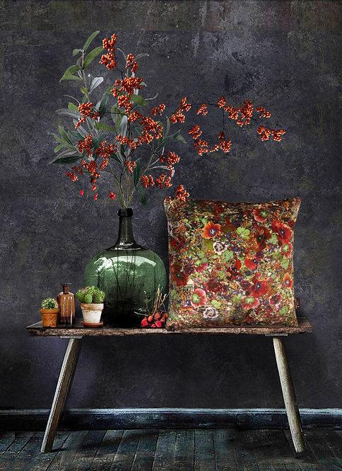 Flower Garden - Velvet Cushion - Apple Green