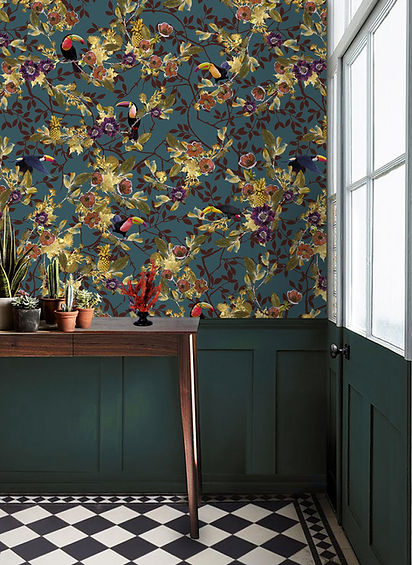 Tropical blue wallpaper with toucans by Good & Craft