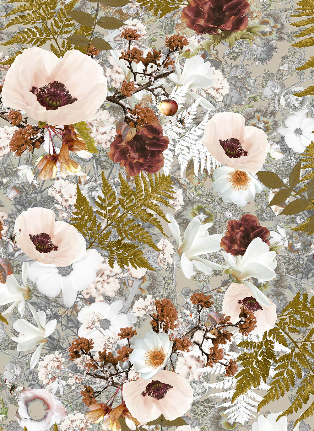 powder interior styling, pattern with flowers, poppies and insects