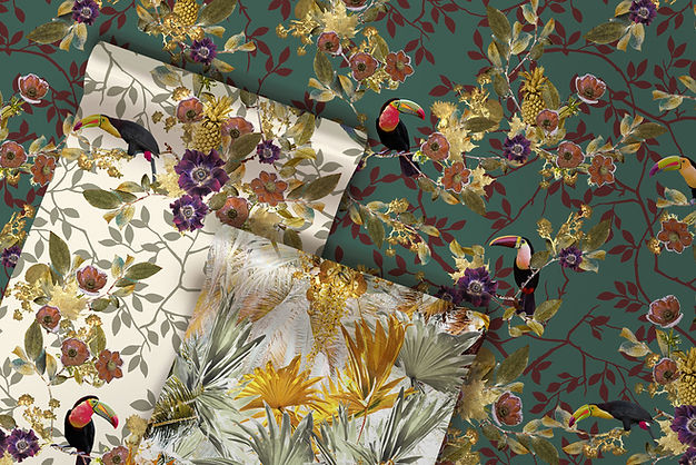 tropical wallpaper with palm leaves and toucans by good & Craft