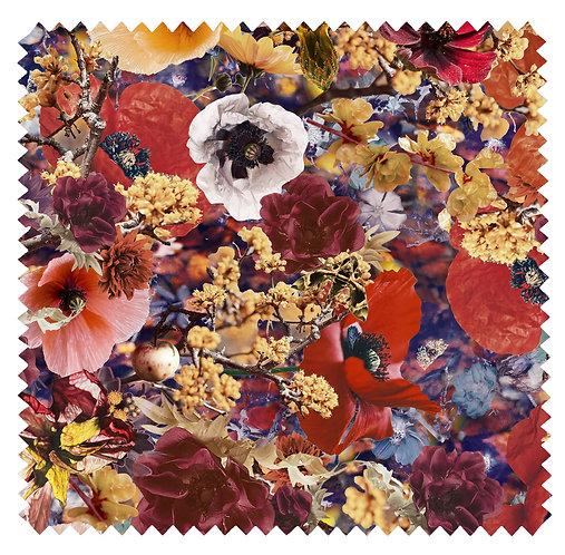 Fabric Sample  Velvet - Flower Garden - Golden Fall