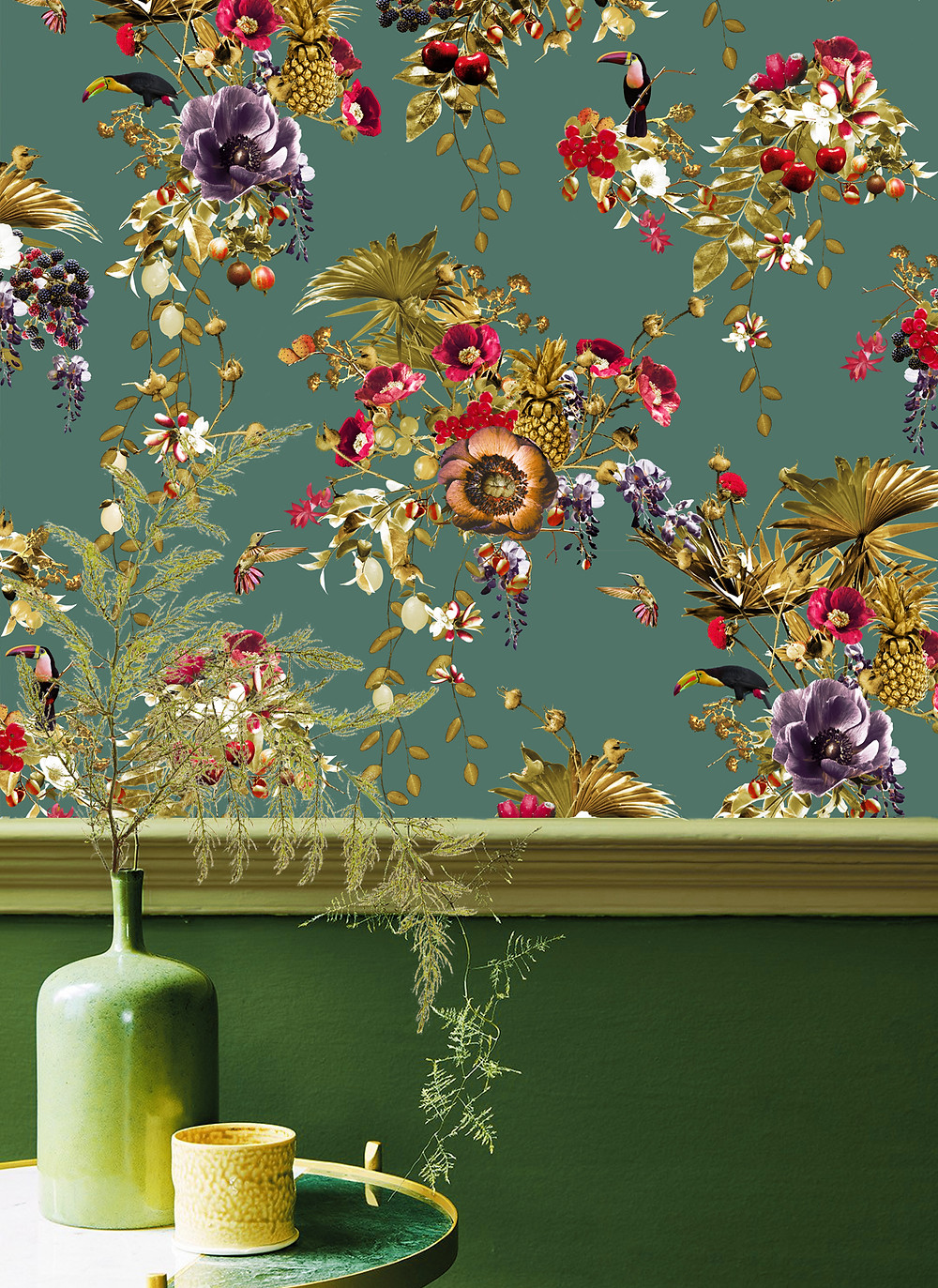 Green interior styling, tropical wallpaper with toucans