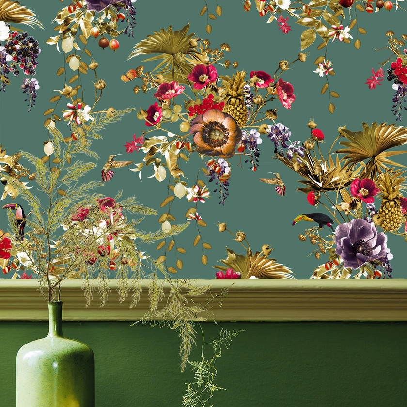 emerald green wallpaper with toucans and floral print by Good & Craft, Good and Craft