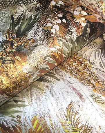 luxury wallpaper with tropical palm leave pattern by Good & Craft
