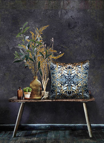 velvet cushion with snake pattern by Good & Craft
