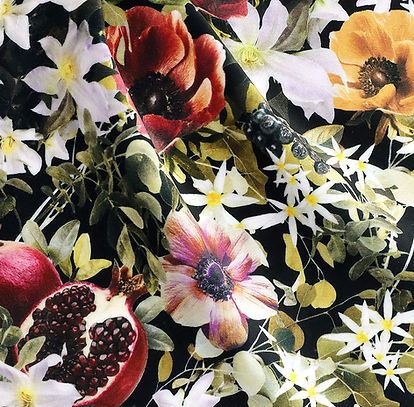 dark floral upholstery velvet fabric with flower print by Good & Craft