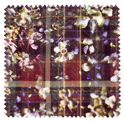 Fabric Sample - Tweed Flowers - Purple