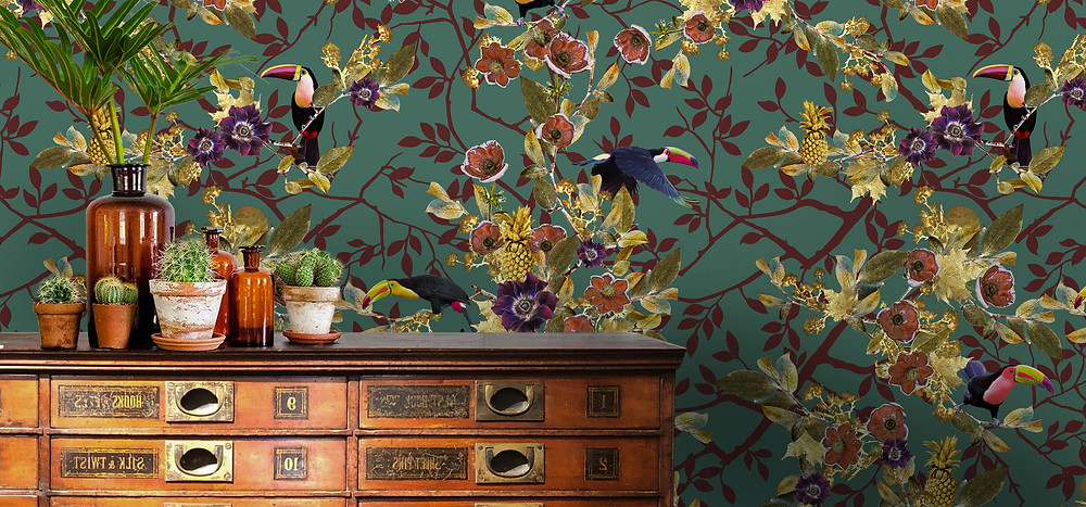emerald green wallpaper with tropical print toucans made of non-woven paper