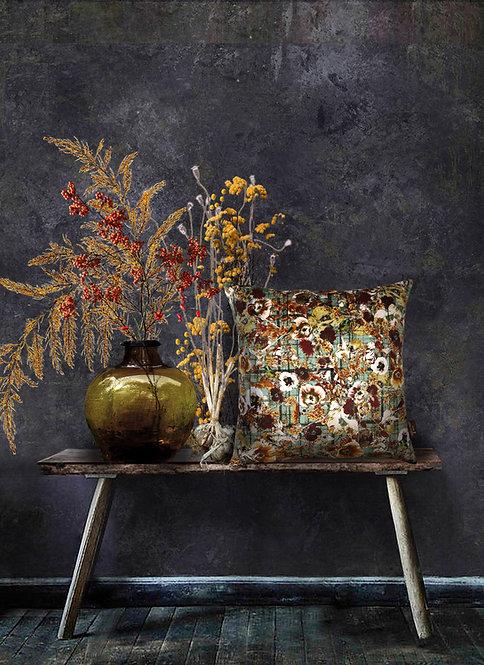 Autumn Garden - Velvet Cushion - Dew Drops
