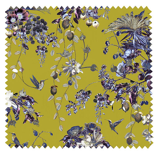 Fabric Sample - Hummingbirds Secret Garden - Lime