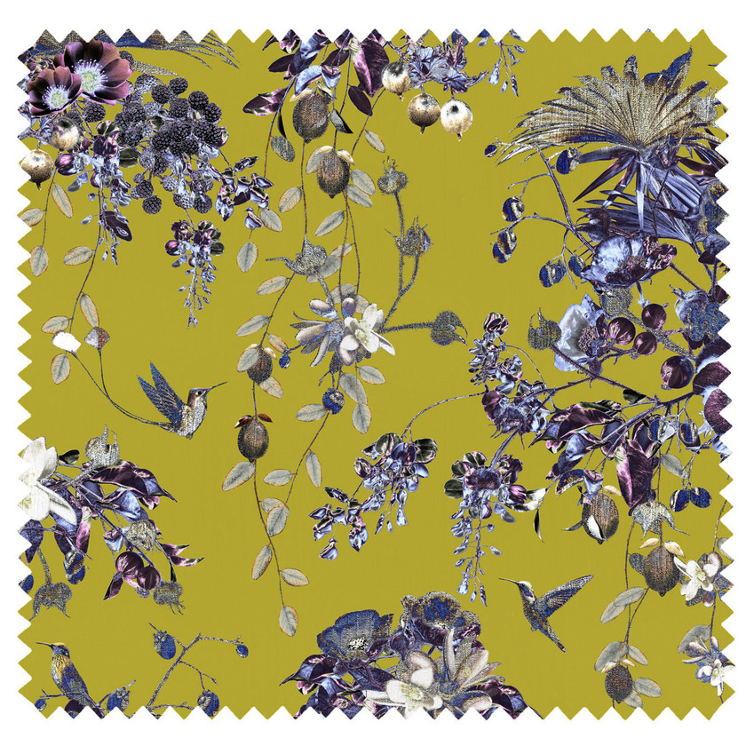 green velvet fabric with bird print and flowers in lime green by Good & Craft. Good and Craft