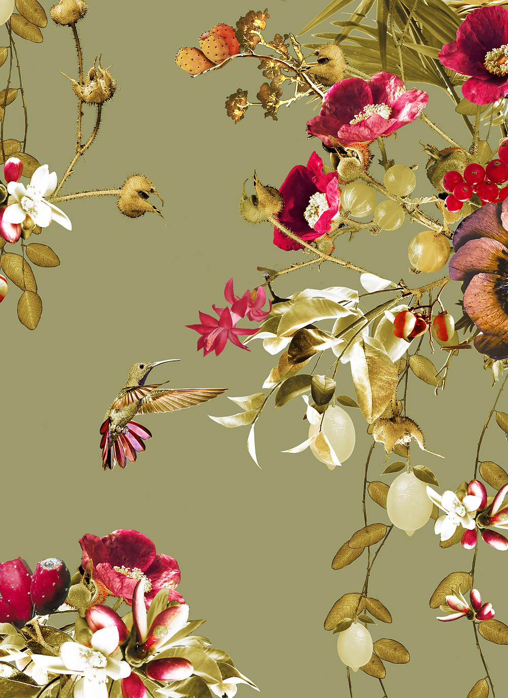 Green interior styling, tropical wallpaper with toucans and hummingbirds