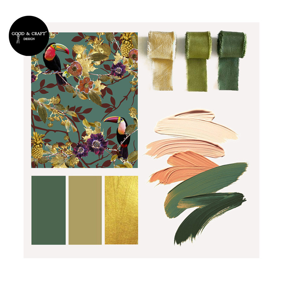 Green interior styling mood board with tropical wallpaper. Toucan print flat lay