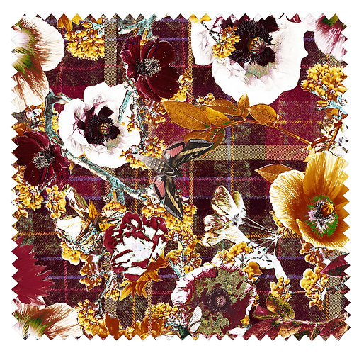Autumn Bloom - Velvet Fabric - Burgundy