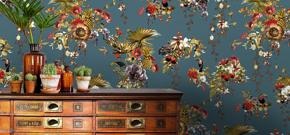 tropical wallpaper with toucans and flowers by Good & Craft with vintage cabinet of drawers, Good and Craft