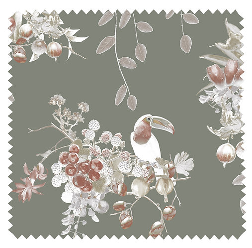 Linen fabric with tropical toucan print by Good and Craft, Good & Craft