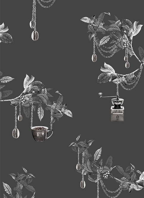 Wallpaper Sample - Coffee Tree - Charcoal