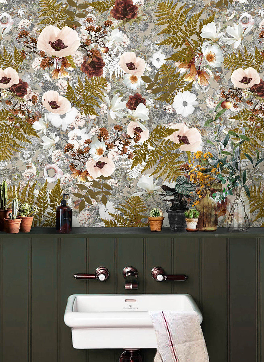 Floral Wallpaper in Bathroom by Good & Craft