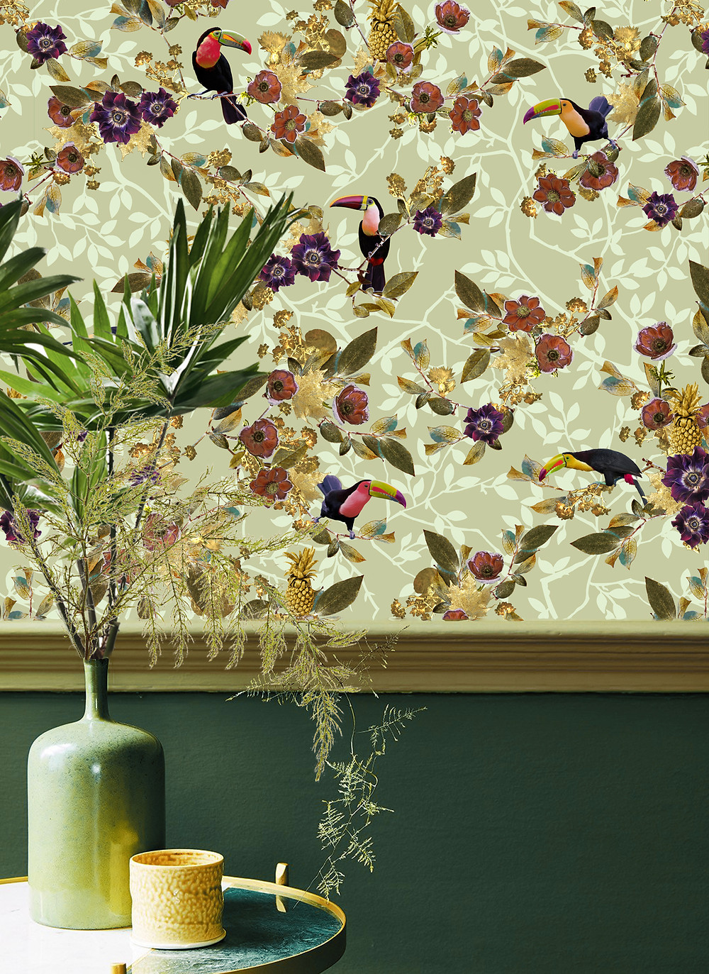 decorating with green, wallpaper in green with toucan print by Good and Craft, Good & Craft