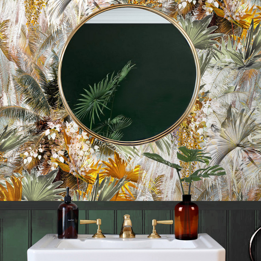 Palm leaf wallpaper in bathroom by Good & Craft with green painted wall, Good and Craft